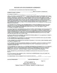 Hold Harmless Agreement Elegant Liability Release Form Texas State ...