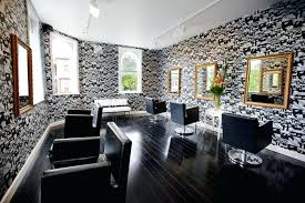 Hair salons ideas Beauty Salon Salon Ideas Unique Monochromatic Wallpaper With Glossy Black Floor For Luxury Hair Salon Interior Design Ideas Salon Ideas Modern Barber Shop Designs Hair Newswired Salon Ideas Brick Wallpaper Salon Ideas Hair Salon Design Ideas For