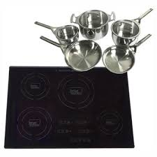 glass induction cooktop in black with 4 induction elements including cookware