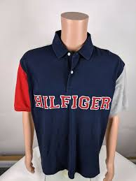 details about vtg 90s tommy hilfiger blue color block spell out rugby polo shirt mens l