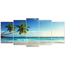 wieco art large size sea beach theme modern giclee canvas prints artwork stretched and framed canvas wall art for home and office decorations on beach framed canvas wall art with wieco art large size sea beach theme modern giclee canvas prints