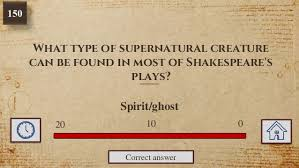 william shakespeare quiz 01020 correct answer bardolatry 12 what type of supernatural creature can be found in most of shakespeare s plays