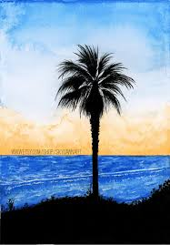 palm tree seascape silhouette watercolor painting print