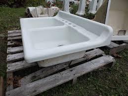 vintage cast iron white porcelain double basin kitchen sink old