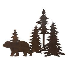 on pine tree forest metal wall art with bear forest 3 d metal wall art