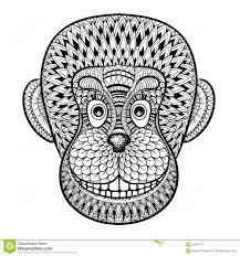 Small Picture Coloring Pages With Head Of Monkey Gorilla Zentangle Illustrat