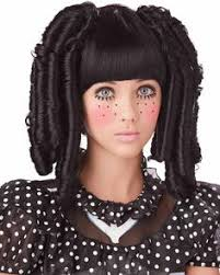 black baby doll curls with bangs wig rag doll makeup costume 2017