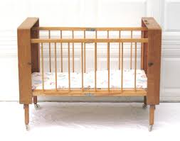 portable baby crib vintage bed folding collapsible wood case