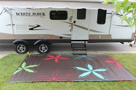 com rv mat patio rug colorful fl design 9x12 garden outdoor