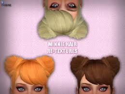 MINNIE HAIR RE-TEXTURES at NiteSkky Sims » Sims 4 Updates
