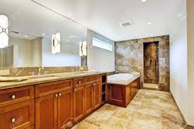 Open Shower Bathroom Luxury Bathroom Interior With Granite Tile Floor And Open Shower