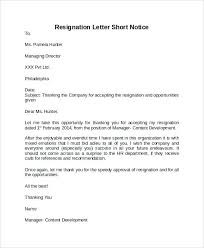 resigning letter format samples short notice resignation letter format sample resignation letter