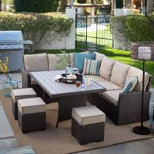 patio dining: belham living bella all weather wicker  piece patio dining set seats  patio dining sets at hayneedle