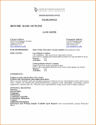 Basic Resume Outline Amazing Cover Letter Format Professional