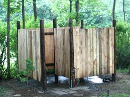 outdoor shower stall wood wall enclosure ideas unit nz