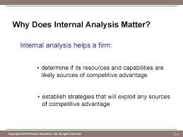 chapter evaluating a firm s internal capabilities  determine if its resources and capabilities are likely sources of competitive advantage establish strategies that will exploit any sources