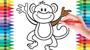 colouring in picture. Delighful Picture Coloring Monkey Colouring Pages For Kids Pictures With Colored  Markers   Throughout In Picture O