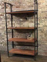 wooden and metal industrial display shelves