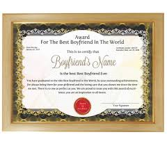 Personalized Award Certificate For Worlds Best Boyfriend With Frame