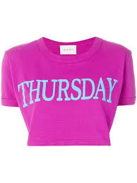 Alberta Ferretti Size Chart Shop Alberta Ferretti Thursday Print Cropped T Shirt