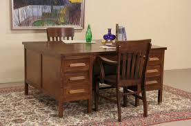 arts crafts mission oak 1910 antique double partner desk