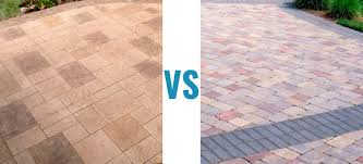 stamped concrete vs pavers which