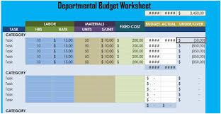 Budget Worksheets Excel Departmental Budget Worksheet Excel