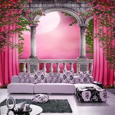 Gebogen Deur Roze Gordijn 3d Papier Glitter Behang Voor Muren 3d