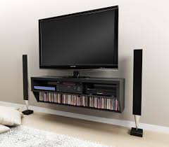 Flat Screen Tv Console Black Led Tv On White Polished Oak Wood Floating Tv Stand As Cd