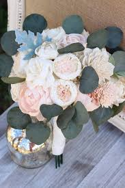 Blush Pink Ivory Sola Wood Flowers Bridal Wedding Bouquet