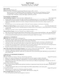 Sample Resume Mechanical Engineer Mmventures Co