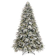 Best Warm White Led Christmas Tree Lights Home Accents Holiday 7 5 Ft Pre Lit Led Flocked Mixed Pine