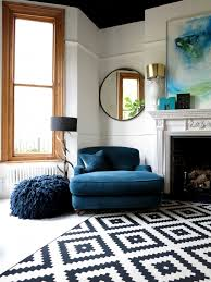 Patterned Living Room Chairs Big Blue Comfy Chair And Patterned Rug In Living Room 47 Park