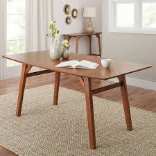 mid century modern dining table. better homes and gardens reed mid century modern dining table, pecan table d
