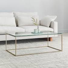 streamline coffee table glass metal
