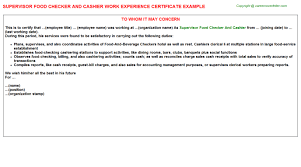 Hotel Cashier Job Experience Letters