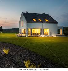 view modern house lights. Contemporary Lights External View Of Stylish And Modern House With Outdoor Lights At Night And View Modern House Lights S