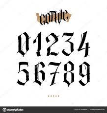 номера находятся готическом стиле вектор символы изолированные белом