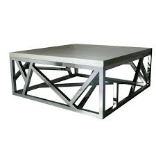geometric stainless steel coffee table with glass top by designs silver and