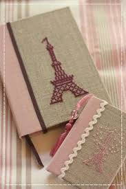 handmade book cover with cross sch on burlap craftwork