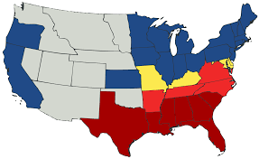 Image result for north south map civil war