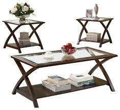 coffee and side table sets coaster 3 piece occasional table sets coffee and end table set in nut brown modern