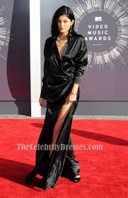 Kylie Jenner Black Long Sleeves Evening Dress Mtv Video Music Awards Tcd6201