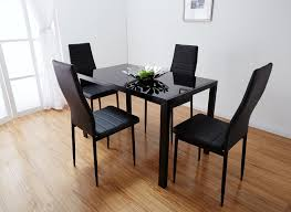 Glass Top Dining Table Set  Chairs Black Room Leisure  Lpuite - Dining room chair sets 6