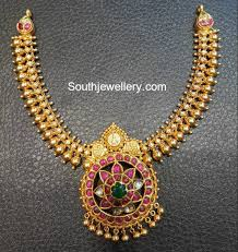 Antique Gold Jewellery Necklace Designs Antique Gold Necklace With Kundan Pendant Indian Jewellery