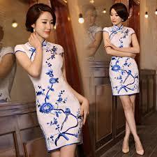 Floral Bird Blue Embroidered White Cotton Mandarin Collar Dress