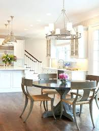 transitional round dining table style chandelier dark with light chairs kitchen rectangular chandeliers d