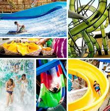 clockwise from top left riding a wave at kalahari twisting through a at water park of america sliding on rides at kalahari getting soaked at