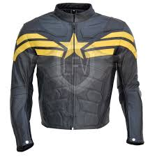 captain america winter solr black yellow leather jacket