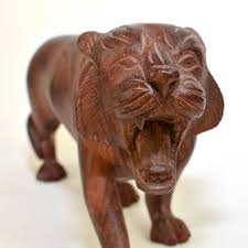 Small Picture Carved Wooden Tiger Statue Figurine Large Handmade Solid Wood